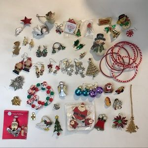 Large Lot of Christmas Novelty Jewelry